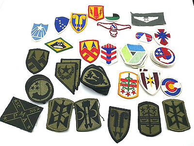 HUGE LOT OF OVER 50 U.S ARMY PATCHES - colored & subdued - unidentified / US