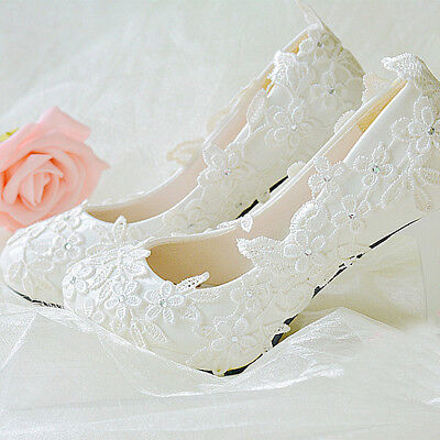 Handmade Women Princess White Lace Floral Bridal Wedding High Heels Shoe
