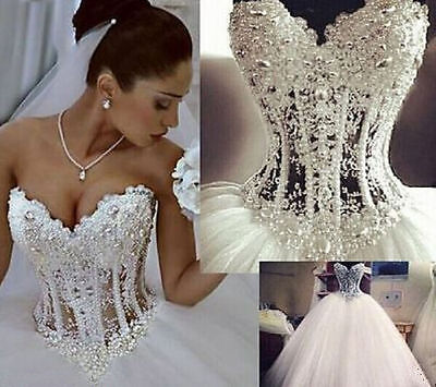 New White/Ivory Wedding Dresses Ball Bridal Gown Custom Size4+6+8+10+12+14+16+18