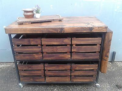 Industrial Chic Rustic Walnut Kitchen Island With Folding Breakfast Bar Table