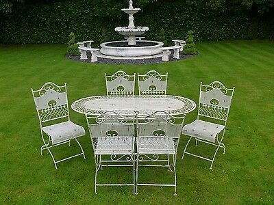 Fabulous French Style 1.6m Ornate Antique White Metal Garden Table And 6 Chairs