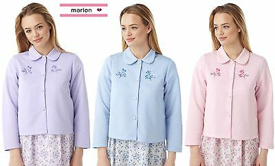 NEW Ladies Lightweight Quilted Bed Jackets With Embroidery Lilac Pink Blue MarBJ