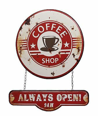 Blechschild Coffee Shop - Alway open -Kafffee 24 h  Werbeklassiker, 40,5 x 51 cm