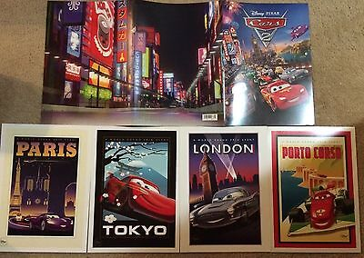 NEW Disney Store Pixar Cars Limited Edition Lithograph Set Exclusive 4 Lithos