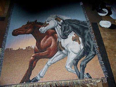 Horses Running In Desert.woven.afghan/throw/tapestry/blanket