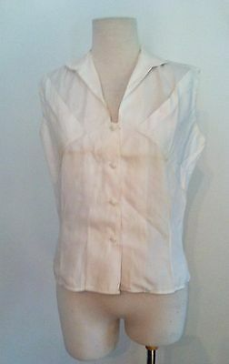 Vtg 1960s Blouse Tailor Tex White Sleeveless Summer Blouse Button Front Top 50s