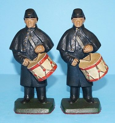 Antique Union Infantry Drummer Civil War Soldier Cast Iron Bookends Metal Art