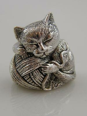Sterling 925 Silver Miniture Cat & String Figurine