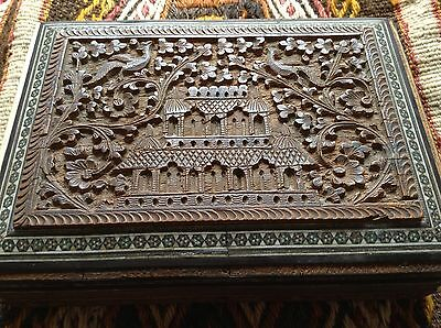 Antique India China Handcarved Wood Marquetry Box Star Phoenix Bird Palace Black