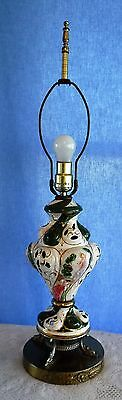 Vintage Green Capodimonte Lamp Light Working Condition with Dolphin Feet