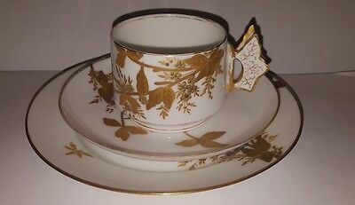 Charles Field Haviland Limoges Butterfly Handle Gilt Trio Cup & Saucer c1880s