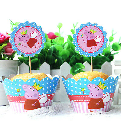 24pcs/set Peppa Pig Cupcake Wrappers&Toppers Picks Kids Birthday Party Supplies