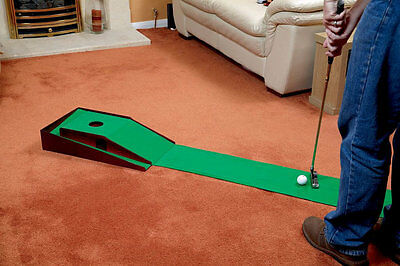 Indoor Putting Practice Green Mat Golf Trainer Training Aid With Ball Return