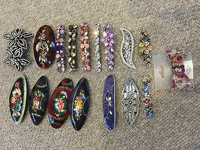 Job Lot 17 Hair Slides Russian Hand Painted Diamanté Bow Floral Jewels Enamel