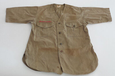 Vintage Boys Scouts of America Shirt Collarless Sweet Orr Khaki