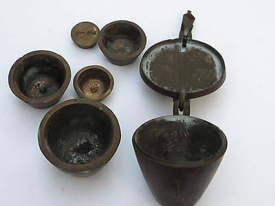 Antique Set of Nesting Troy Pharmacy Apothecary Metal Weights for Balance Scale