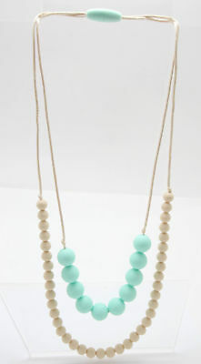 Mama and Little Chunky Round Teal Tan Chewy Beads Chain Necklace