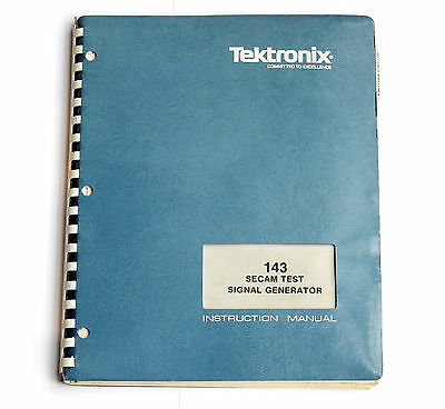 Tektronix 143 SECAM Test Signal Generator, Operation & Service Manual