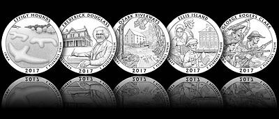 2017 Silver Proof Quarters Deep Cameo Pristine Examples in Gradable Condition