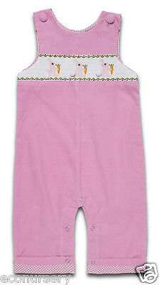 """Baby Girls """"Cottontail"""" Pink Corduroy Traditional Smocked Dungarees, From 3to24M"""