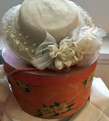 Vintage G Howard Hodge Pink Magnolia Hat Box & Norman Durand Hat Original