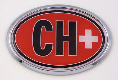 Switzerland Swiss CH Flag Car Chrome Emblem Bumper Sticker flag decal oval