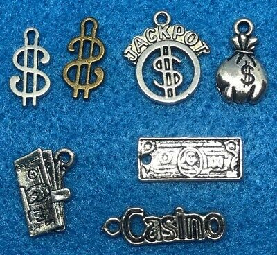 Jackpot Charm Antique Silver Money Charm Dollar Sign Charms Win Big Casino