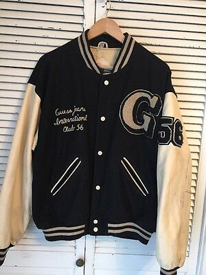 Vintage Guess Club 56 Wool Leather Letterman Jacket Medium