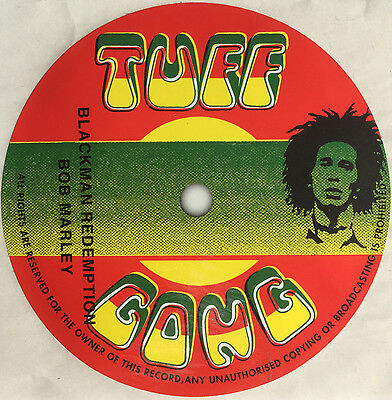 Bob Marley. Blackman Redemption record label sticker. Reggae. Tuff Gong