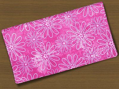 Checkbook Covers Fabric Outline Pink Daisies Handmade