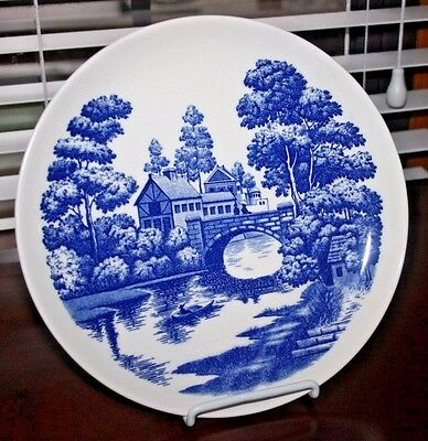 """NASCO Handpainted Lakeview Japan China Plate,Blue & White Design, 9 3/4"""" Wide"""