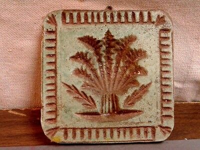 Vintage Green Wall Hanging Chalk Tile Incised Wheat Sheaf Design and Edging