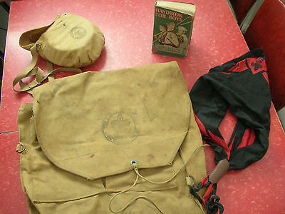Vintage 1942 Boy Scout Backpack / Mess Kit / Scraf & Slide & Scout Hand Book