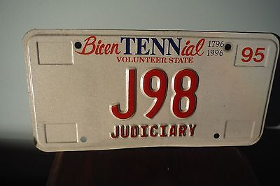 TN License Plate - Specialty JUDICIARY J98 Judge Tennessee