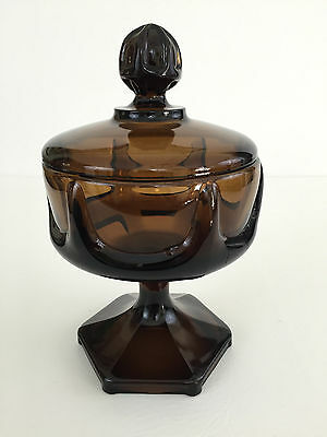 vintage heavy brown glass covered compote - possibly VIKING  1960's 1970's