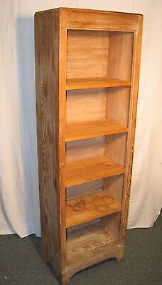 Vintage American Country Rustic Distressed Pine 5 Shelf Bookcase Pantry Cabinet