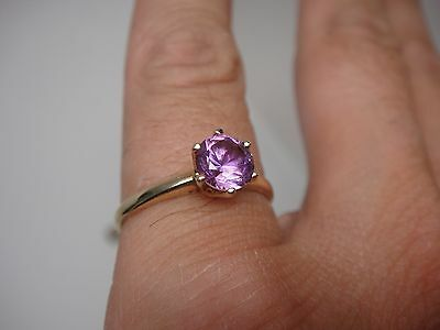 Antique 10k Yellow Gold Lab Created 1ct Alexandrite Color Change Solitaire Ring