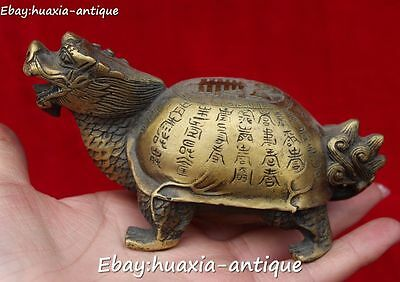 Chinese Bronze Dragon Dragons Loong Tortoise Turtle Beast Ancient Words Statue