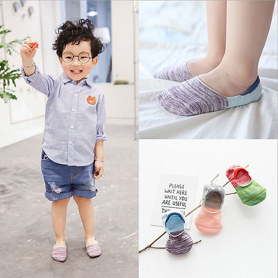 3 Pairs Cotton Baby Girls Boy Kids Invisible Nonslip No Show Socks Low Cut 1-10Y