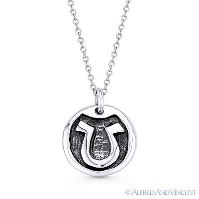 """Greek Letter Omega Charm 925 Sterling Silver """"U"""" Pendant & Cable Chain Necklace"""
