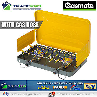 Gas Stove Gasmate® Turbo 2 Burner Camping Portable Cooker BBQ & Gas Hose CS1095