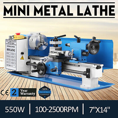 "550W 7""x14"" Mini Metal Lathe Metalworking Tool Variable Speed Readout Cutter"