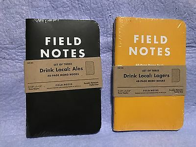 Field Notes Drink Local set of two 3-pack Ales and Lagers sealed new and unused