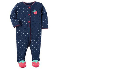 1-Pc Carters. Dot-Print Strawberry Footed Coverall, Baby Girls 6m New with Tag