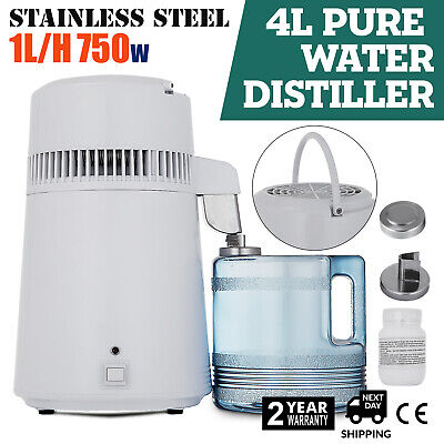 New 4L Water Distiller Purifier Stainless Steel Distilled Purified Home Use
