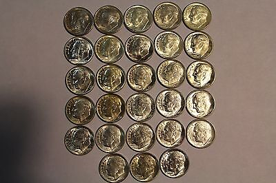 Bu Half roll of 28 coins of 1953-S, 1955-P,D & S  toned/spotted Dime ends