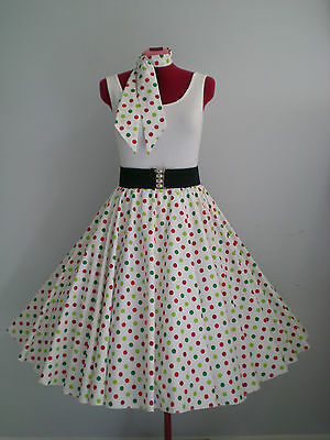"ROCK N ROLL/ROCKABILLY ""Spots"" SKIRT & SCARF S-M White/Multi Coloured Spots."