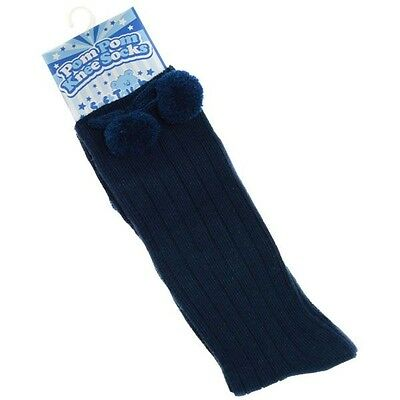 Baby girls,boys spanish/romany style navy knee high pom pom socks 0/3-3/6-6/12m