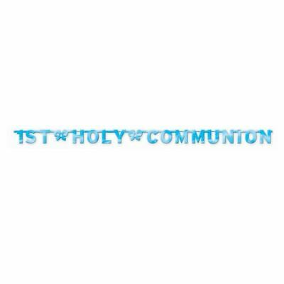 1st Holy Communion Letter Banner Blue Christian Church Bows Religion Party