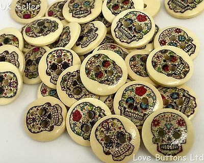 10 SPANISH  MEXICAN SUGAR SKULL DAY OF THE DEAD PUNK DESIGN 15mm WOODEN BUTTONS